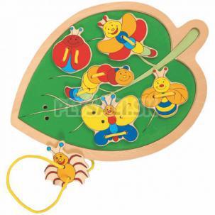 """Woody -  Prevliekacie puzzle """"List s chrobáčikmi"""""""