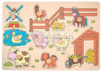 "Woody - Puzzle na doštičke ""Zvieratá od mlyna"""