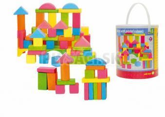 Woody - Stavebnica kocky farebné - pastelové, 75 dielov