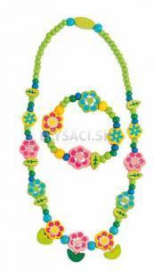 Woody - Súprava náhrdelník a náramok - Kvety s lístkami
