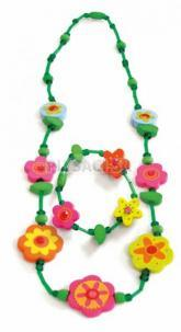 Woody - Súprava náhrdelník a náramok - Zelený s kvetinami