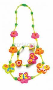 Woody - Súprava náhrdelník a náramok - Motýliky a kvety