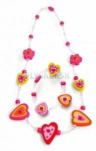 Woody - Súprava náhrdelník a náramok - Srdiečka