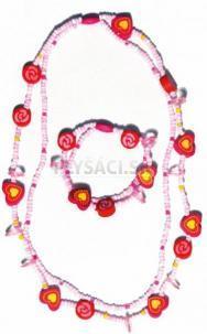 Woody - Súprava dvojitý náhrdelník a náramok - Srdiečka a kolieska