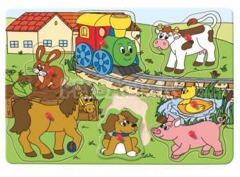 "Woody - Puzzle na doske s úchytkami ""Mašinka"""