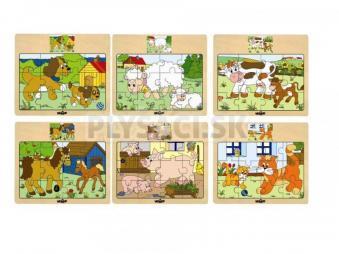 """Woody - Puzzle na doske """"Mašinka"""" - zvieratá s mláďatami"""