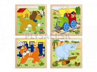 """Woody - Puzzle zo 4 dielov """"Mašinka"""", 4 motívy"""