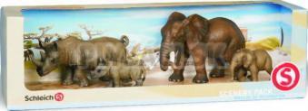 Schleich - Set - Africká slonica, sloníča, samica nosorožca