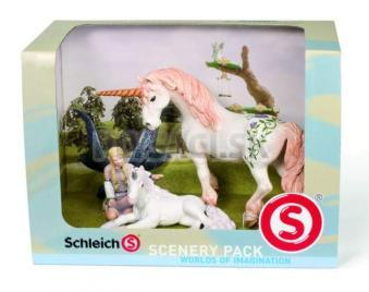 Schleich - Set - Elfia víla Lindariel s žriebäťom, jednorožec