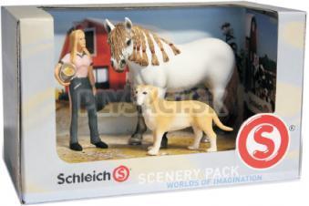 Schleich - Set - Dievčina, andalúzska kobyla, labrador