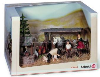 Schleich - Set s domácimi zvieratami a kráľovnou