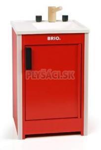 BRIO - Vstavaný drez v červenej skrinke