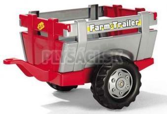 Rolly Toys - Vlečka za traktor 1osá Farm Trailer - striebro červená