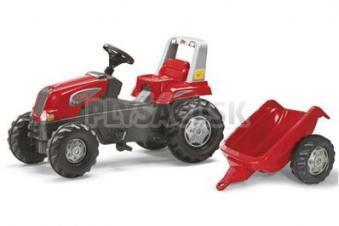 Rolly Toys - Šliapací traktor Rolly Junior s vlečkou červený akčný