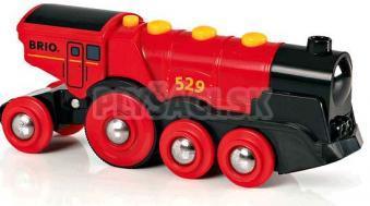 BRIO - Mohutná elektrická červená lokomotíva so svetlami