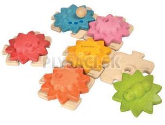 Plan Toys EKO - skladačka ozubené kolieska a puzzle