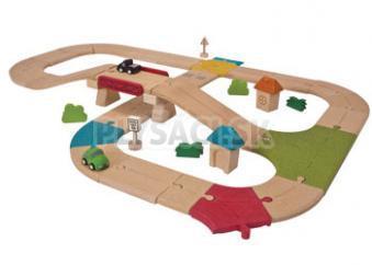 Plan Toys EKO - vláčikodráha, alebo cesty s mostom