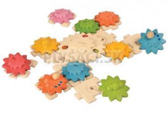 Plan Toys EKO - skladačka ozubené kolieska, puzzle