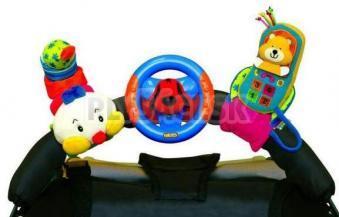 K's Kids - 3 veselé hračky na prichytenie suchým zipsom (telefón, volant, stonožka)