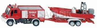 SIKU Blister - požiarne vozidlo Unimog s člnom